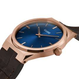 Cluse CW0101503002 Men's Watch with Leather Strap Vigoureux rose gold / blue
