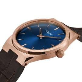 Cluse CW0101503002 Herrenuhr mit braunem Lederband Vigoureux roségold / blau