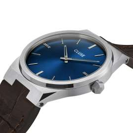 Cluse CW0101503001 Men's Wristwatch with Leather Vigoureux Strap Steel/Blue