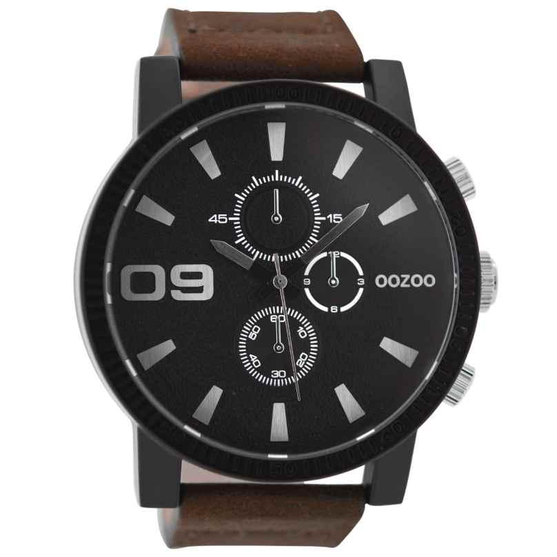Oozoo C9033 Mens Wrist Watch with Chrono Look Brown/Black 50 mm 9879012517384
