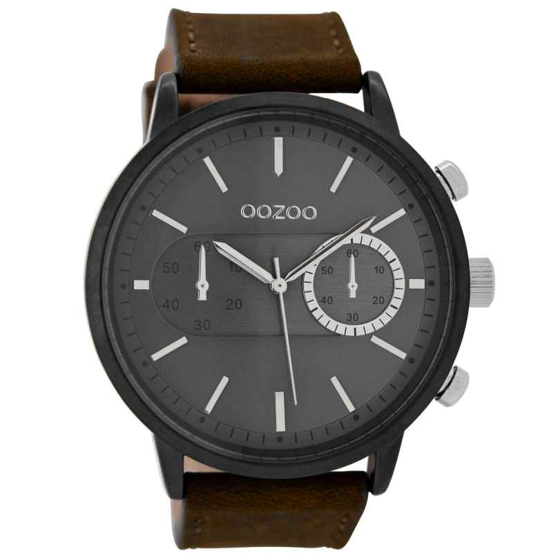 Oozoo C9057 Herrenuhr im Chrono-Look Braun/Dunkelgrau 49 mm 9879012517629