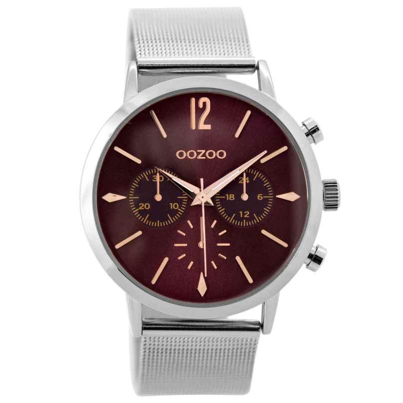 Oozoo C9466 Damenuhr im Chrono-Look silberfarben/burgund 40 mm 8719929000610