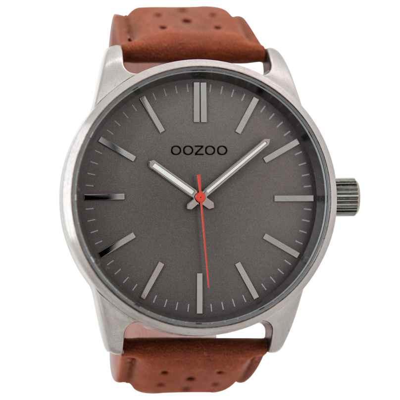 Oozoo C9421 Herrenuhr Grau/Cognac 48 mm 8719929000160