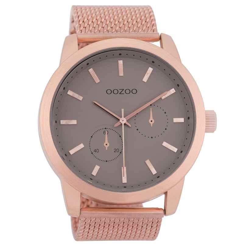 Oozoo C9662 Herrenuhr mit Milanaisearmband Taupe/Rosé 47 mm 8719929006193