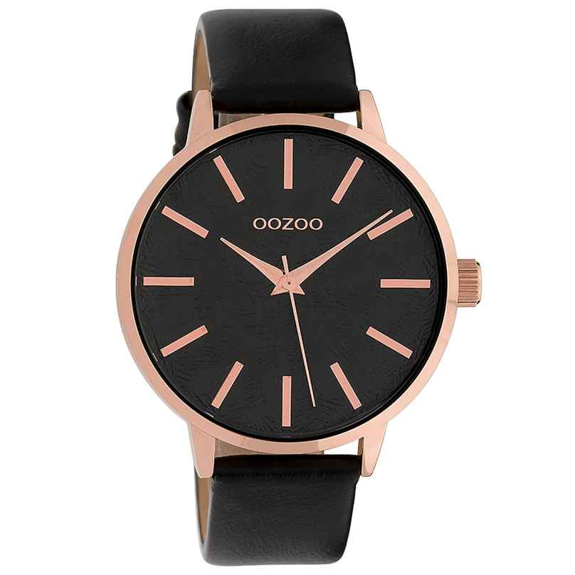 Oozoo C9754 Damenuhr mit Lederarmband Schwarz 42 mm 8719929008777
