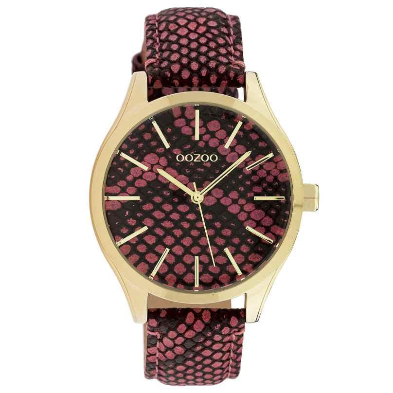 Oozoo C10433 Damen-Armbanduhr Lederband Ø 40 mm Rot 8719929015423