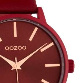 Oozoo C10618 Damenuhr mit Lederband Rot Quarz 42 mm