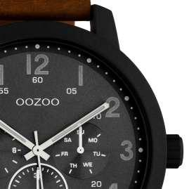 Oozoo C10507 Herrenuhr mit Lederband Chrono-Look Braun / Dunkelgrau