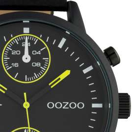 Oozoo C10534 Men's Watch with Chrono Look Black / Yellow 50 mm