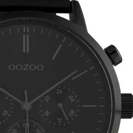 Oozoo C10544 Men's Watch with Leather Strap Chrono Look Black 50 mm