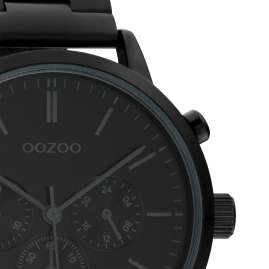 Oozoo C10549 Men's Wrist Watch Chrono Look Stainless Steel Bracelet Black