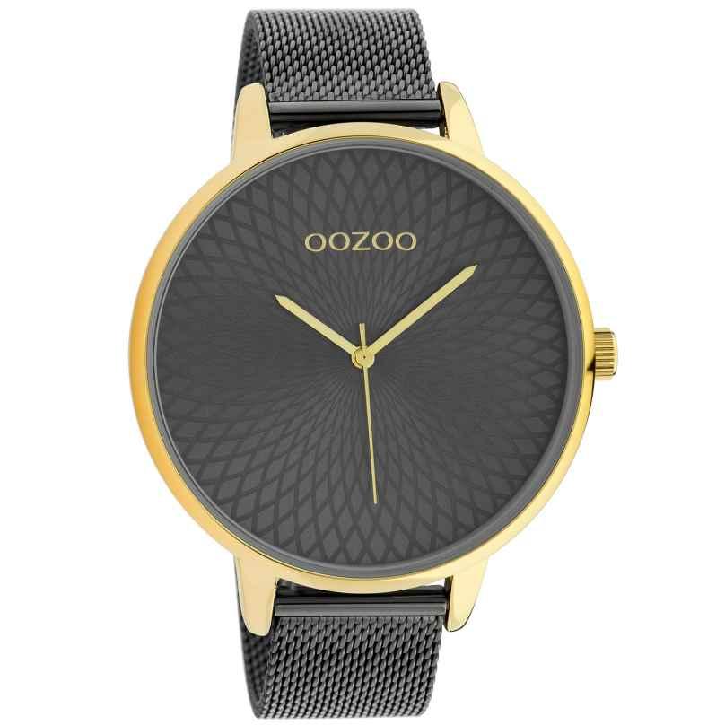 Oozoo C10554 XL Damenuhr mit Edelstahl-Armband gold / anthrazit 48 mm 8719929018189