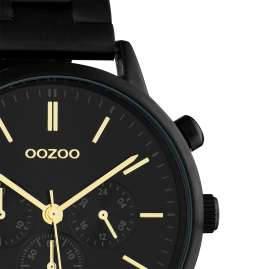 Oozoo C10564 Damenuhr mit Edelstahl-Armband im Chrono-Look schwarz / gold