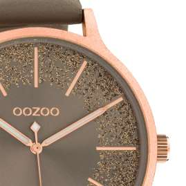 Oozoo C10567 Ladies' Watch Leather Strap Ø 45 mm taupe / rose gold
