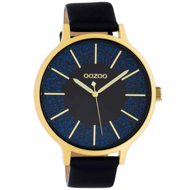 Oozoo C10568 Damenuhr Lederband Ø 45 mm schwarz / gold / blau 8719929018325