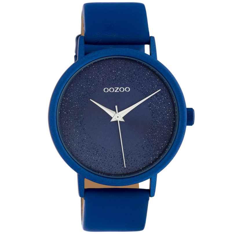 Oozoo C10583 Damenuhr mit Glitzereffekt und Lederband Ø 42 mm Blau 8719929018479