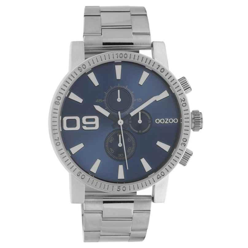 Oozoo C10705 Herrenuhr im Chrono-Look Stahlfarben/Blau 45 mm 8719929021325
