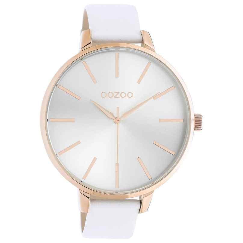 Oozoo C10710 Damenuhr mit Lederband Weiß/Roségoldfarben 48 mm 8719929021370