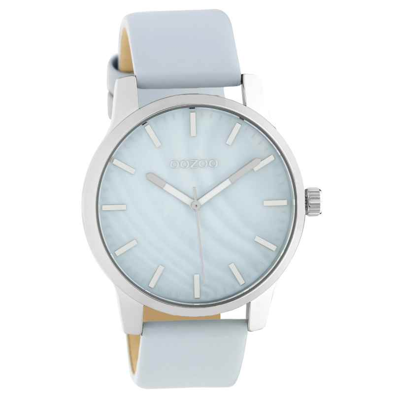 Oozoo C10726 Women's Watch with Leather Strap Light Blue/Silver Tone 42 mm 8719929021530