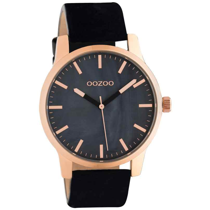 Oozoo C10729 Ladies' Watch with Leather Strap Black/Rose Gold Tone 42 mm 8719929021561