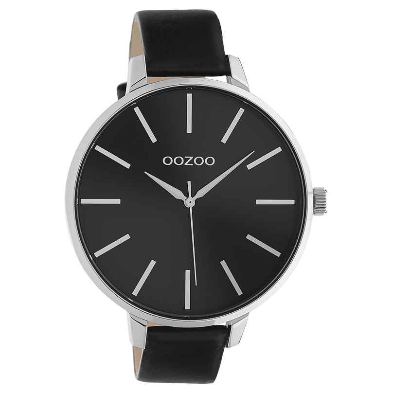 Oozoo C10714 Damenuhr mit Lederband Schwarz / Silberfarben 48 mm 8719929021417