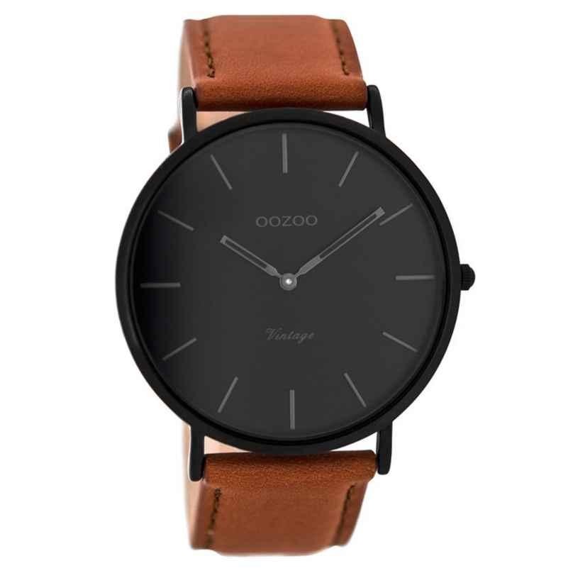Oozoo C8126 Vintage Watch with Leather Strap Cognac/Black 44 mm 9879012512327
