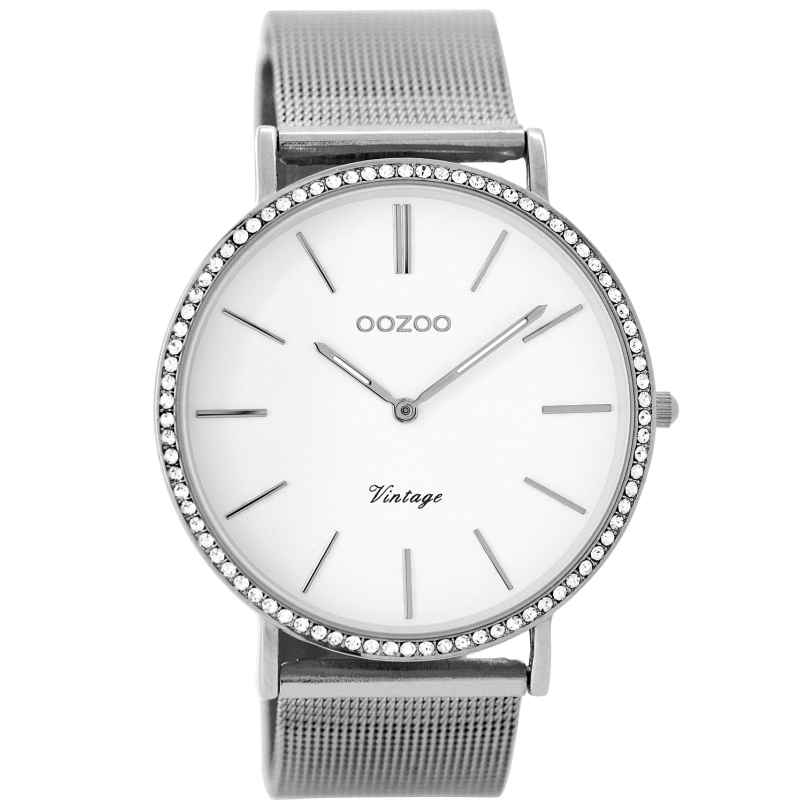 Oozoo C8890 Ladies Wrist Watch Vintage Silver/White 40 mm 9879012520216