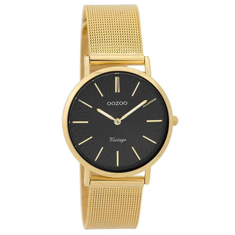 Oozoo C9349 Damen-Uhr Vintage Goldfarben/Schwarz 32 mm 8719929001884