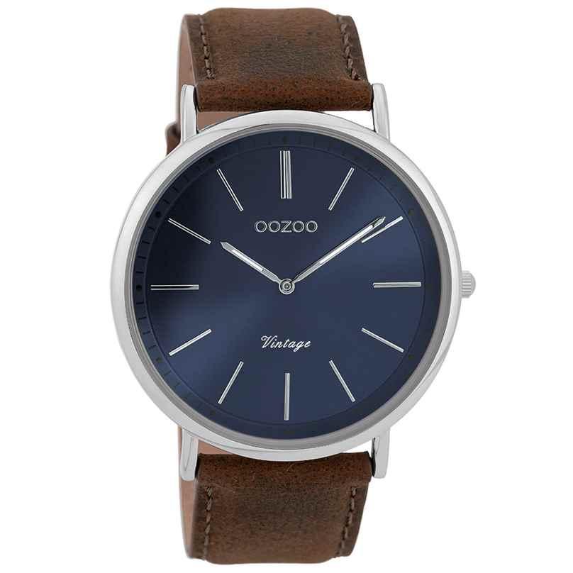 Oozoo C9358 Herren-Armbanduhr Vintage Silberfarben/Braun/Blau 44 mm 8719929001976