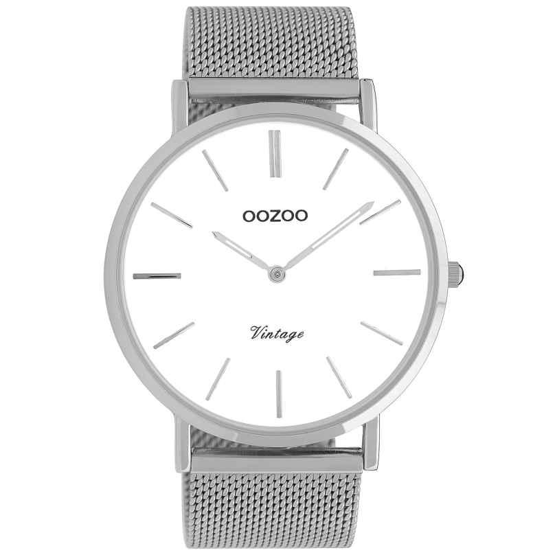Oozoo C9900 Watch Vintage Silver/White 44 mm 8719929009606