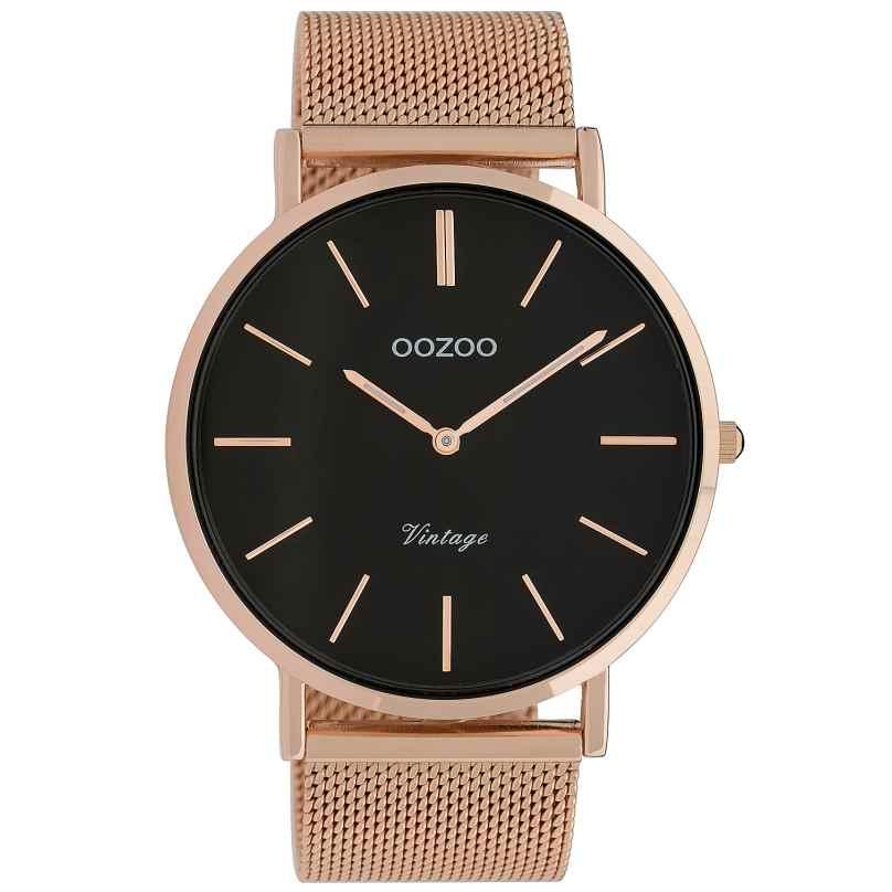 Oozoo C9924 Armbanduhr Vintage Roségoldfarben/Schwarz 44 mm 8719929009842