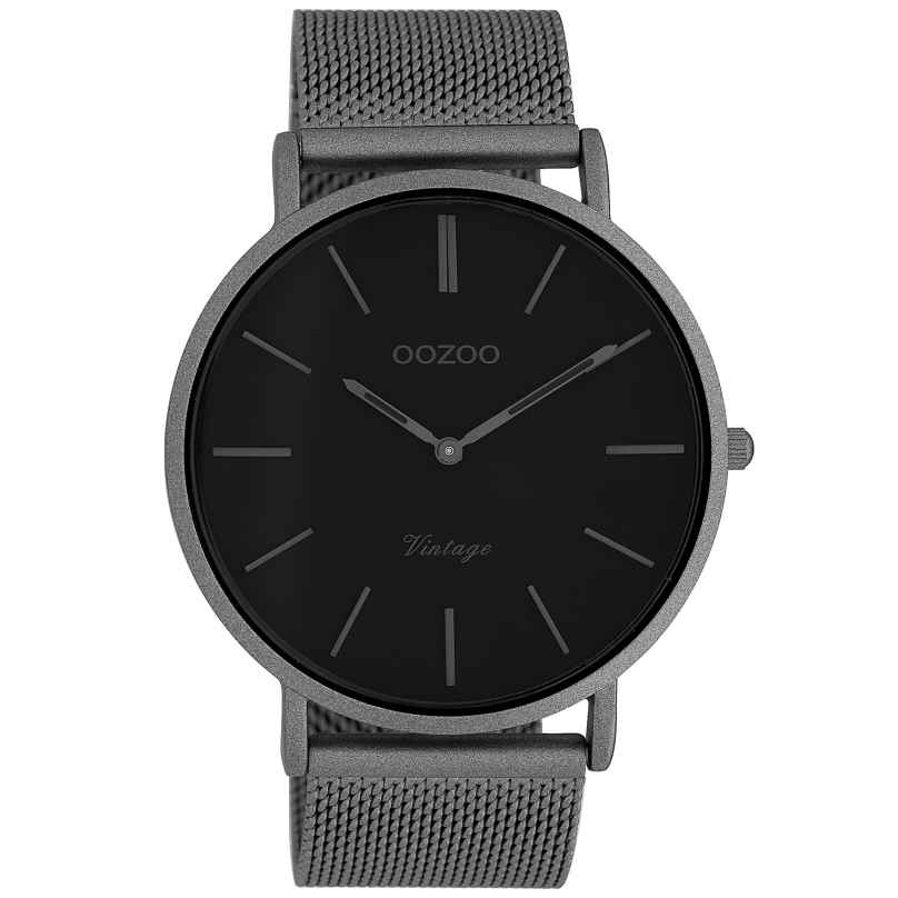 Oozoo C9928 Armbanduhr Vintage Titanfarben/Schwarz 44 mm 8719929009880