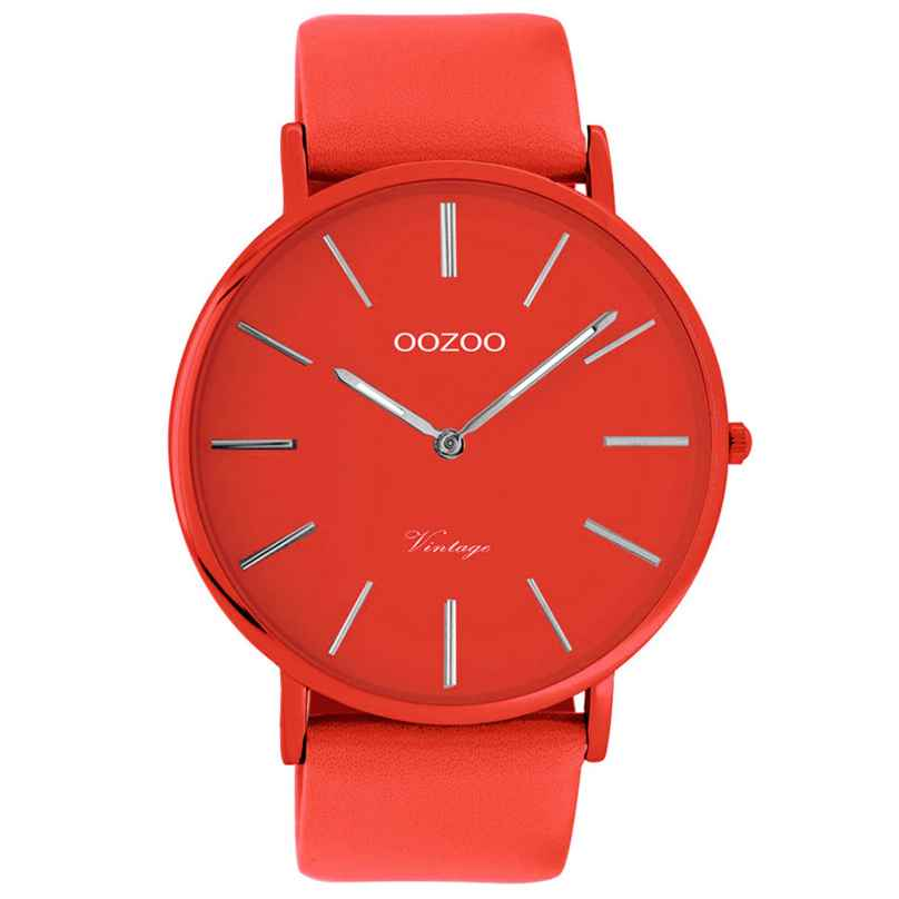 Oozoo C9879 Armbanduhr mit Lederband Chili Pepper 44 mm 8719929013825