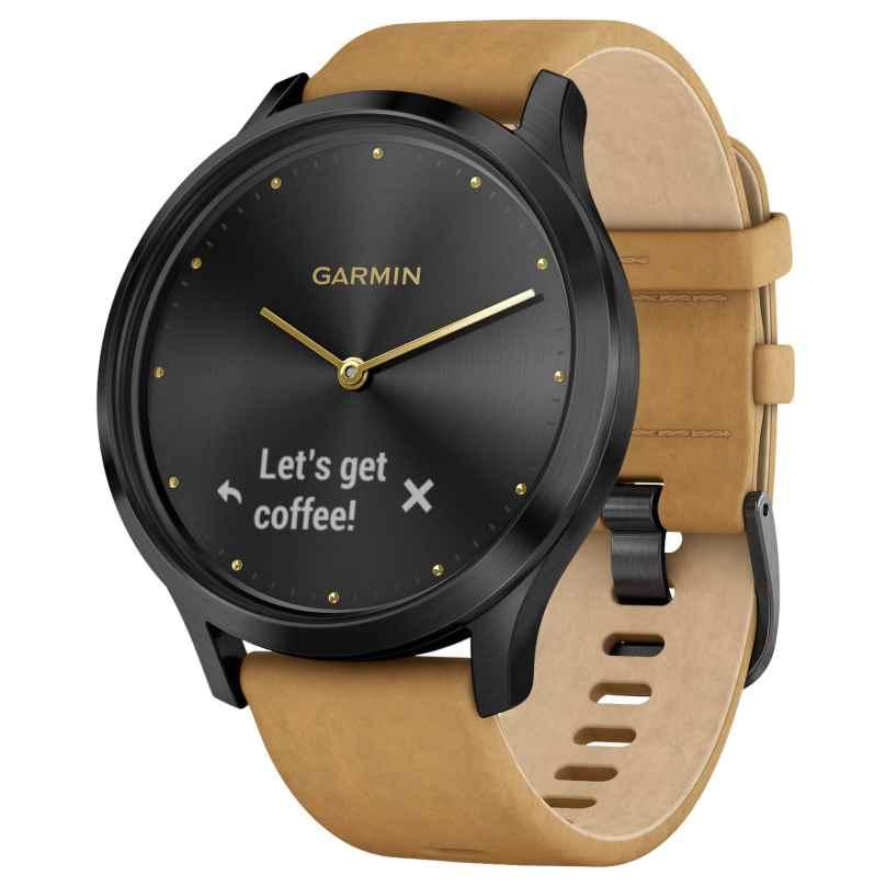 Garmin 010-01850-00 vivomove HR Premium Fitness-Tracker Smartwatch Black/Tan 0753759182366