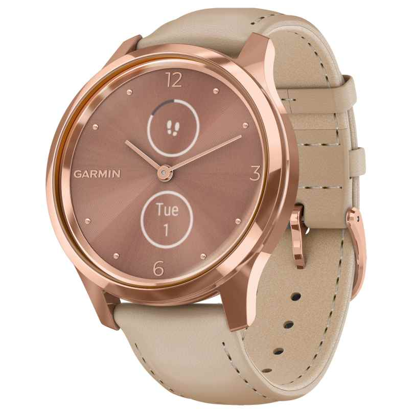 Garmin 010-02241-01 vivomove Luxe Smartwatch with Leather Strap Beige 0753759234515