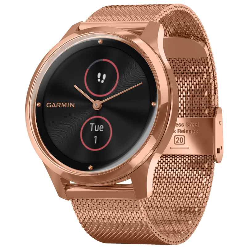 Garmin 010-02241-04 vivomove Luxe Hybrid Smartwatch with Mesh Strap Rose 0753759234546