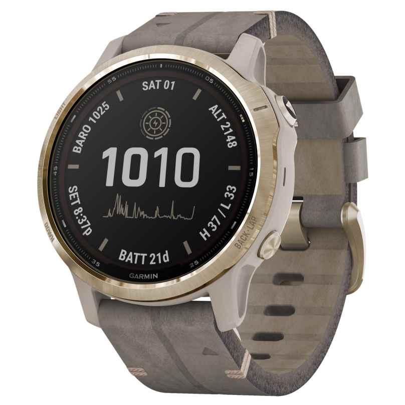 Garmin 010-02409-26 Fenix 6S Pro Solar Smartwatch Gold Tone / Grey Leather 0753759261245