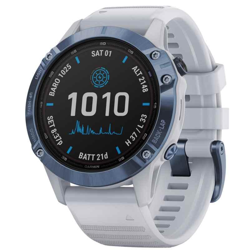Garmin 010-02410-19 Fenix 6 Pro Solar Smartwatch Stone White / Blue Titanium 0753759251888