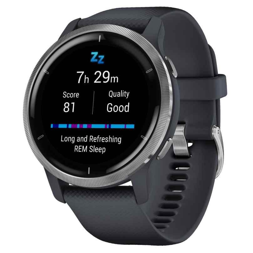 Garmin 010-02430-10 Venu 2 Fitness Smartwatch Granitblau/Silberfarben 0753759271817