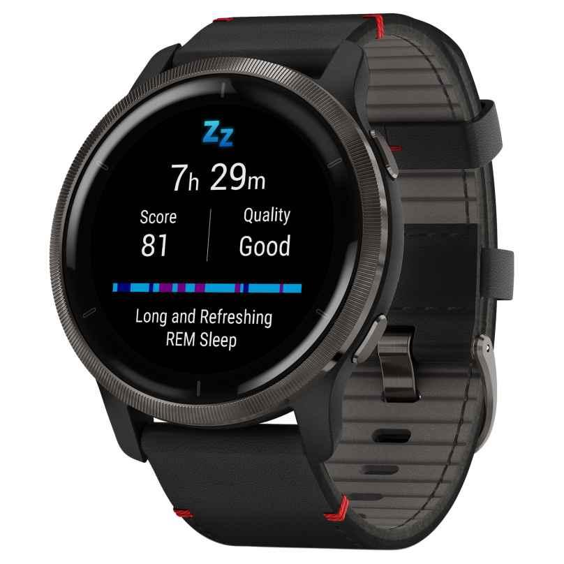 Garmin 010-02430-21 Venu 2 Fitness Smartwatch Schwarz/Grau + Lederband 0753759283865