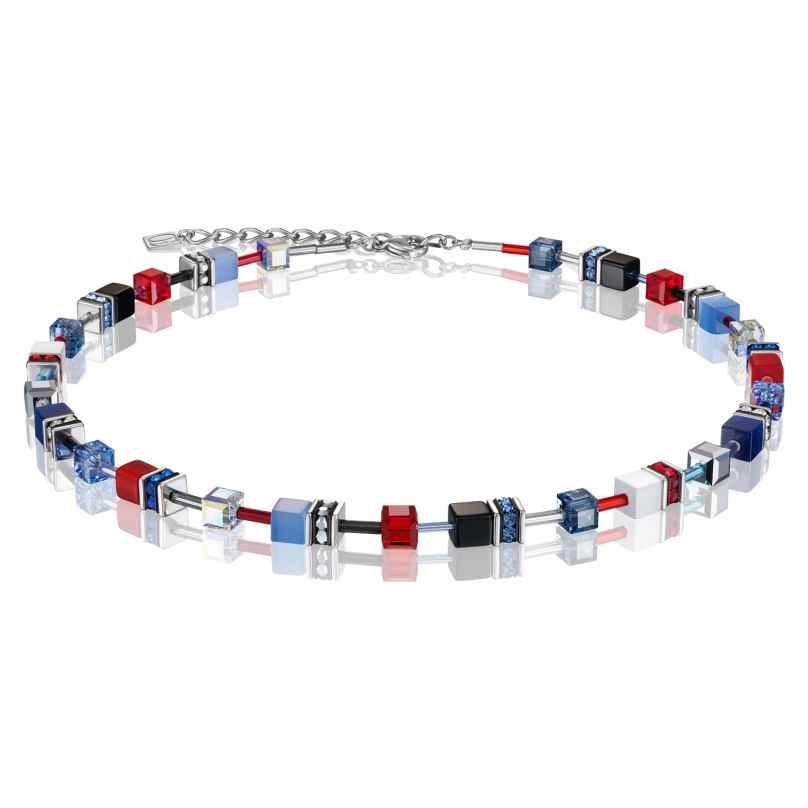 Coeur de Lion 2838/10-0703 Damen-Kette GeoCUBE Multicolor Blau-Rot 4251588309214