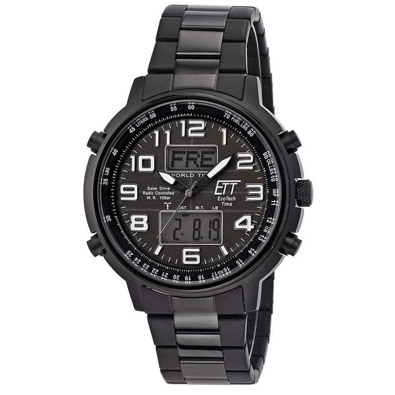 ETT Eco Tech Time EGS-11390-25M Men's Solar Radio-Controlled Watch Hunter II Black 4260503034735