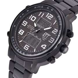 ETT Eco Tech Time EGS-11390-25M Herren Solar-Funkuhr Multifunktion Hunter II Schwarz