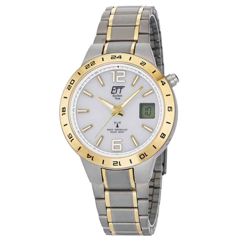 ETT Eco Tech Time EGT-11410-40M Radio-Controlled Solar Watch Titanium Two-Colour 4260503036906