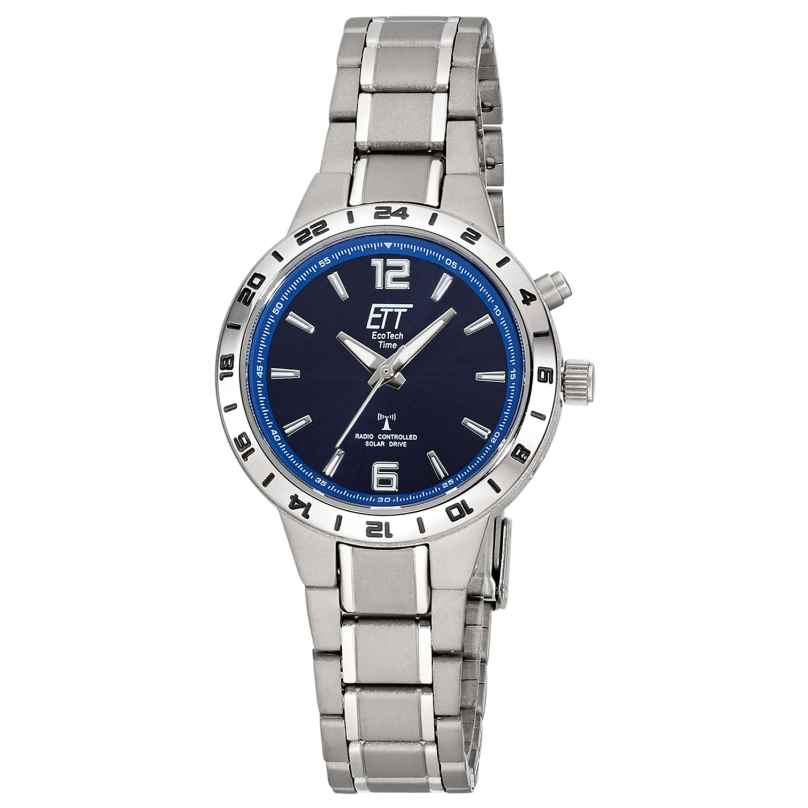 ETT Eco Tech Time ELT-11447-31M Ladies' Watch Solar Radio-Controlled Titanium Blue 4260503038696
