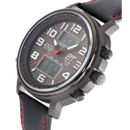 ETT Eco Tech Time EGS-11452-22L Funk-Solar Herrenuhr Hunter II Lederband schwarz