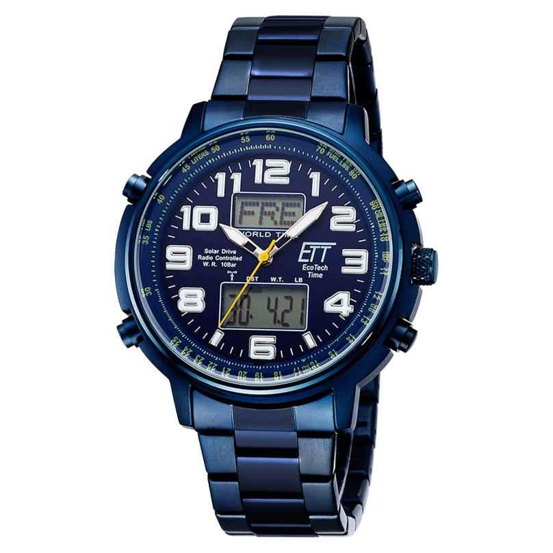 ETT Eco Tech Time EGS-11445-32M Radio-Controlled Solar Men's Watch Hunter II Blue 4260503038672