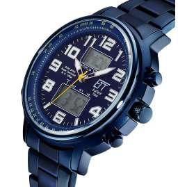 ETT Eco Tech Time EGS-11445-32M Funk-Solar Herrenuhr Hunter II Edelstahl Blau