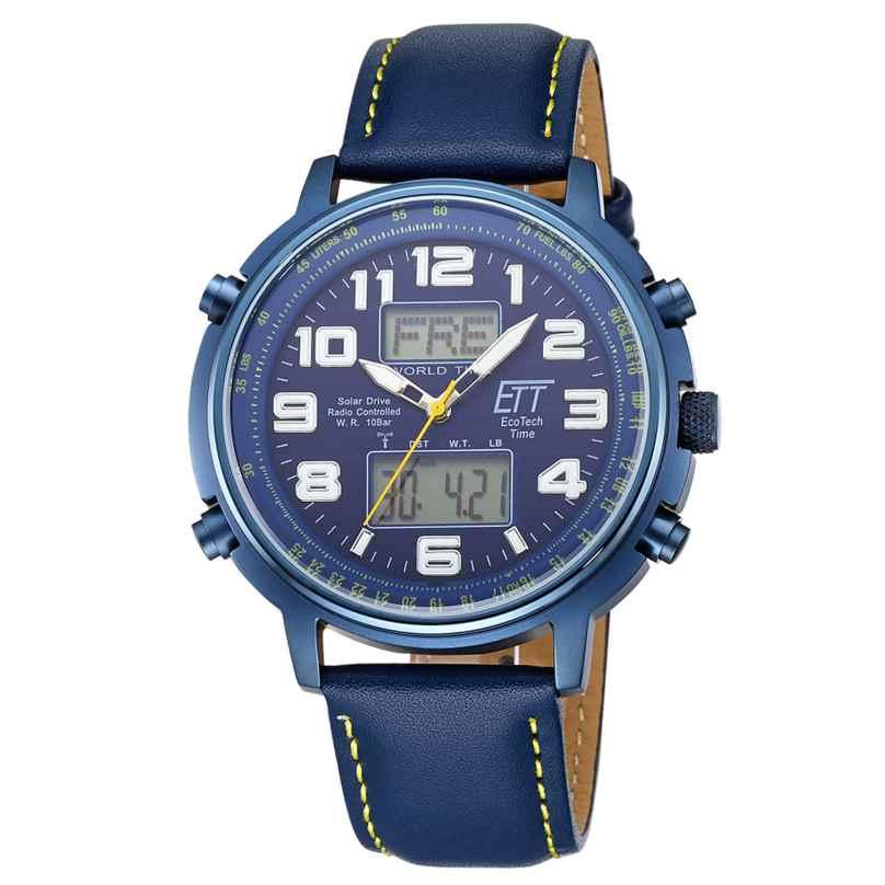 ETT Eco Tech Time EGS-11450-32L Funk-Solar Herrenuhr Hunter II Lederband Blau 4260503038726