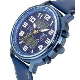 ETT Eco Tech Time EGS-11450-32L Funk-Solar Herrenuhr Hunter II Lederband Blau